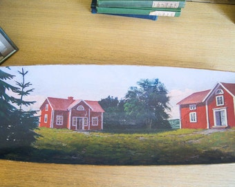 Folk Art Painting on Wooden Trencher-Cabins by the Sea