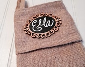 On SALE- Personalized Burlap Christmas Stocking with BLANK Chalkboard Name Tag, Rustic Christmas