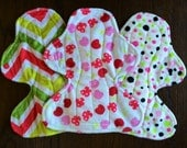 """Set of Three 11"""" Heavy Flow Postpartum Reusable Cloth Pad ~ Cherry Soda, Pink and Lime Dot, and Citrus Wave Minky ~ by Talulah Bean"""