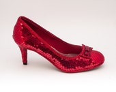 Sequin Red 3 Inch High Heels Shoes by Princess Pumps with Red Rhinestone Bow