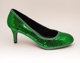 Sequin | 3 Inch Kelly Green High Heels Pumps Dress Shoes