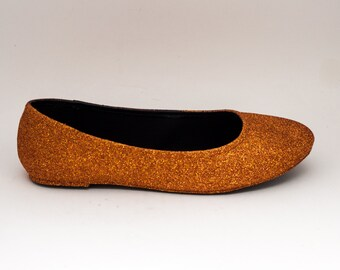 Glitter | Copper Ballet Flat Slipper Shoes