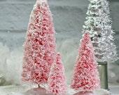 """3 Large Pink Bottle Brush Tree Set Christmas Village Tree Glitter Flocked Bottle Brush Bottlebrush Tree 9"""" 6"""" 4"""" Putz House Tree Holiday"""