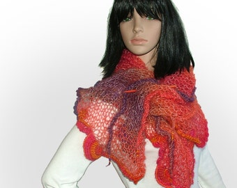 Knitted Scarf Shawl Wrap Stole with OOAK freeform crochet motifs & glass beads, in Orange, Bright Pink, Purple shades