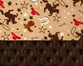 SALE CIJ Minky Baby Blanket Boy, Personalized Baby Blanket - Cowboy Red Brown