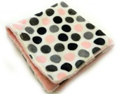 """14"""" Pink & Gray Dots Minky Mini Baby Blanket,  Lovey - Ready to ship"""