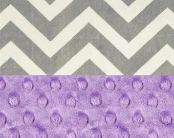Chevron Minky Baby Blanket Girl,  Lilac & Silver Gray Personalized Baby Blanket - Purple