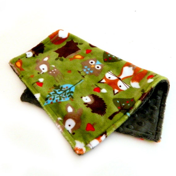 Personalized Mini Baby Blanket  -Lovey Woodland Animal Minky Baby Blanket - Green Foxes Hedgehogs