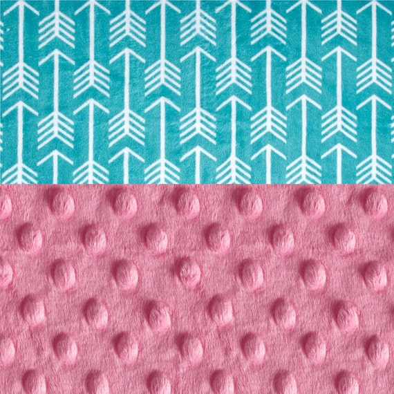 Arrow Baby Blanket Minky Baby Girl, Pink Personalized Baby Blanket, Baby Gift, Teal Arrow Baby Blanket, Teal Baby Blanket, Receiving Blanket