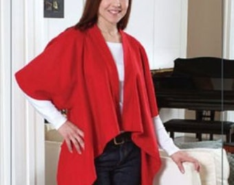Simple Sleeved Shawl INDYGO JUNCTION IJ 838 - Easy Trendy Sewing Pattern!