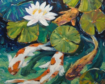 Pond Swimmers - Original oil painting - created by Prankearts