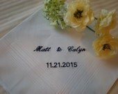 Bridal Hanky Anniversary Hanky. set of  3 - Personalized Date.Bridal Party Mom Dad Wedding