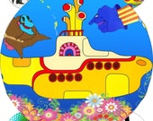 Yellow submarine images large circles for pocket mirrors and more digital collage sheet No.1640