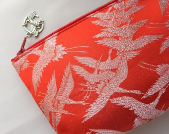 Upcycled Kimono Cosmetic Purse / Zipper Pouch - One Thousand Cranes