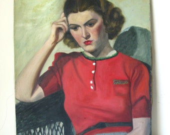 Midcentury Oil Portrait Painting of Woman in Red on Canvas