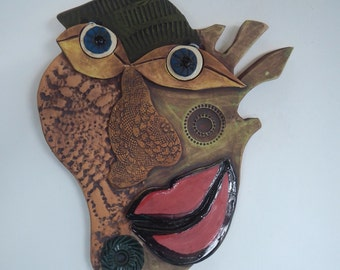 Happy Guy Abstract Mask-Picasso inspired ceramic wall mask