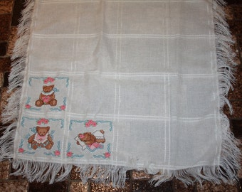 Baby Bears Counted Cross Stitch  Baby Blanket
