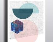 90S SUPERPOSITION // Poster, Abstract art, 12x18, minimalist art print, geometric print, abstract, Scandinavian style, nordic design, pink