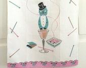 Vintage Linen Towel Owl Top Hat Cocktail Glass Swizzle Sticks Cigarettes Ashtray