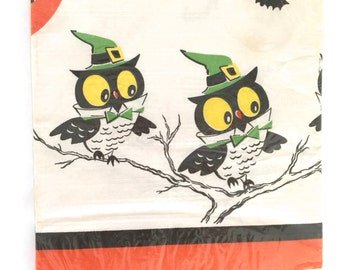 Vintage Paper Tablecloth Halloween Owls