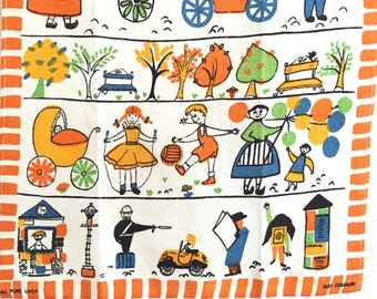 Vintage Towel Houses Children Mid Century Eames Chef HAPPY Colors!