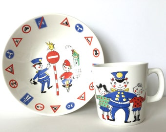 Stavangerflint Vintage Children's Cup Bowl Set Norway Inger Waage Dish Coffee Mug Trygg Trafikk Police Safety