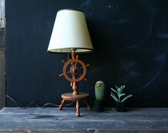 Vintage Novelty Table Lamp 60s Nautical Theme From The 50s or 60s Steam Boat Wheel Light Switch Vintage From Nowvintage on Etsy