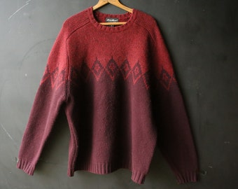 Vintage Wool Sweater Pullover Burgundy and Brick Red With Diamond Pattern Mens XL Eddie Bauer Vintage from Nowvintage on Etsy