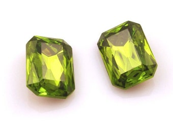 Olivine Green Faceted Glass Jewels Czech Crystal Octagon Gems 18x13mm - 2