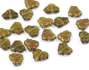Czech Glass Maple Leaf Beads Olive Bronze 13mm - 10