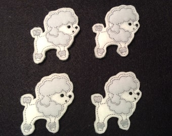 White Gray Pink Poodle French Dog Embroidered Felt Applique
