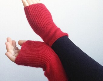 Cashmere Sweater Arm Warmers, Cashmere Fingerless Gloves, Red Texting Gloves, Valentine's Gifts Under 25, Black Cashmere Gloves