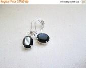 SALE Petite Black Swarovski Crystal Silver Earrings