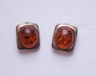 amber & sterling silver stud earrings