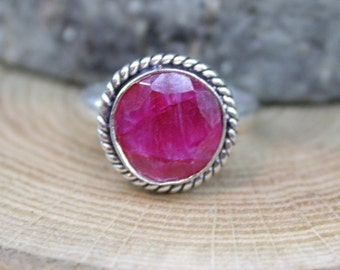 Raw Rough Faceted Ruby Gemstone Sterling Silver filled bezel Unique multi stone Statement Artisan January birthstone Ring size US 11.75  B3