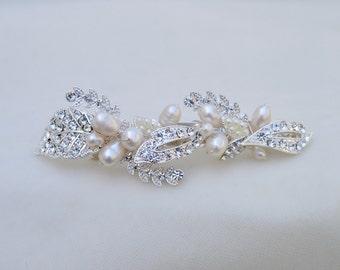 Bridal Swarovski Crystal & Pearl Hair Clip / Rhinestone And Pearl Bridal Hair Clip / Austrian Crystal And Freshwater Pearls Hair Clip