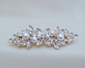 Bridal Crystal And Pearl Gold Hair Clip / Swarovski Crystal Hair Clip / Vintage Inspired Hair Clip / 4 Inch Gold Barrette