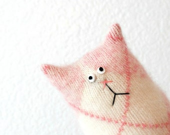Stuffed Animal Cat Doll - Felted Cashmere Cat - Tiny Cat - Pink Cat - Cat Lover Gift - Soft Toy - Plush Toy - Stuffed Toy - Pink Cat Doll