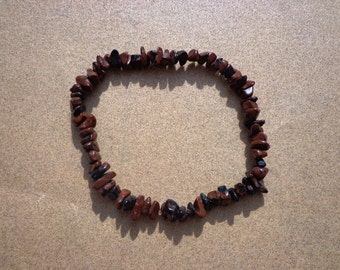 Bracelet Mahogany Obsidian Gemstone Chip Beads on Clear Elastic Cord 8.75 Inches, Stretch Bracelet, Unisex Bracelet, Obsidian Gemstone Chips