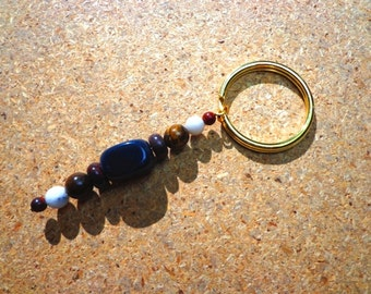 Key Ring Charm for Strength with Poppy Jasper, Tourmalinated Quartz, Black Agate and Tiger Iron Gemstones, Protection Stones, Healing Stones