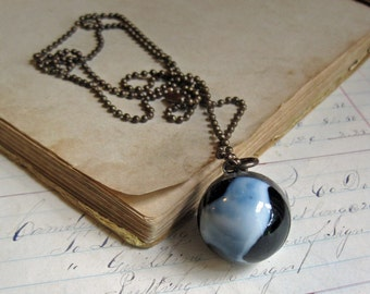 Shooter Marble Necklace Black White Glass Jewelry *Sale*