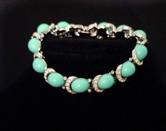Vintage KRAMER Turquoise Blue Cabochon and Rhinestone Bracelet