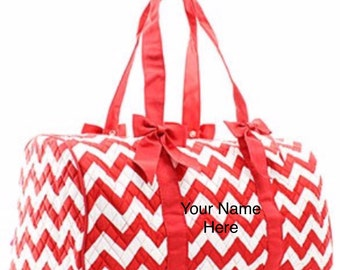 Personalized Red Chevron Quilted Duffle Bag