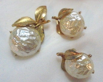 Vintage Kramer Baroque Faux Pearl Pin and Clip Earrings