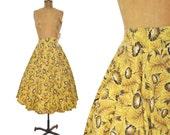 "vintage 50s skirt / Morning Glory yellow floral circle skirt /  1950s skirt ..  27"" waist"