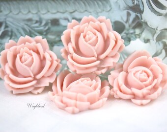 Pink 26mm Resin Rose Cabochons - 2