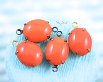 Vintage Glass Oval Stones in 1 Ring Closed Back Brass Prong Settings 12x10mm Coral - 4