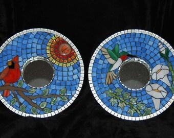 Mosaic Mirror, Set of Two, Cardinal and Hummingbird