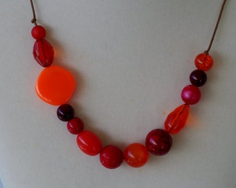 CLEARANCE SALE!!  Blood Orange.  Long Chunky Adjustable Beaded Necklace.  Metal Free.