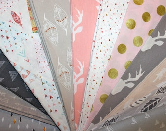 Baby, Girl, Rag, Quilt Kit, DIY, Cotton, Quilt, Blanket, Kit, Pink, Grey,Gray, Coral, Cream, Modern, Rustic, Deer, Buck, Choose Your Colors